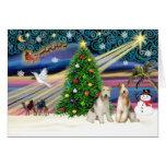 PARES del fox terrier del Magia-Alambre de Navidad Felicitacion