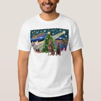 Pares del Magia-Doberman de Navidad Poleras