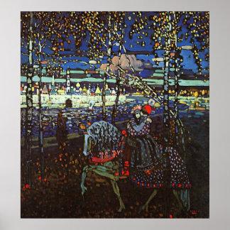 Pares del montar a caballo de Wassily Kandinsky Póster