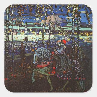 Pares del montar a caballo, Wassily Kandinsky 1907 Pegatina Cuadrada