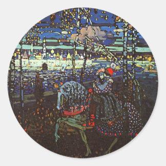 Pares del montar a caballo, Wassily Kandinsky 1907 Pegatina Redonda