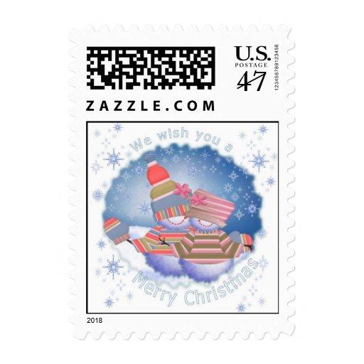 Pares del muñeco de nieve del día de fiesta en timbres postales