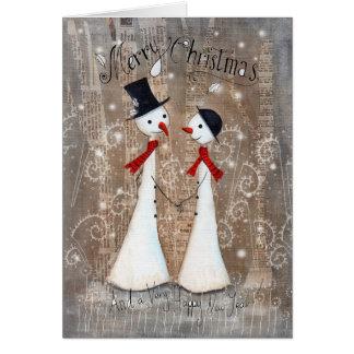 Pares del muñeco de nieve del navidad tarjeta de felicitación