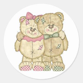Pares del oso de peluche - colores originales etiquetas redondas