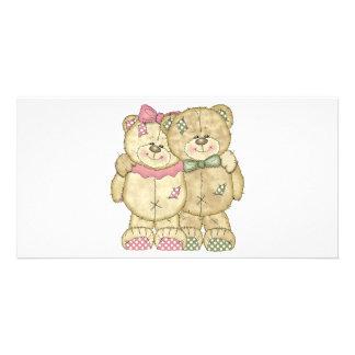 Pares del oso de peluche - colores originales tarjetas con fotos personalizadas