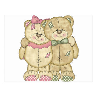 Pares del oso de peluche - colores originales tarjetas postales