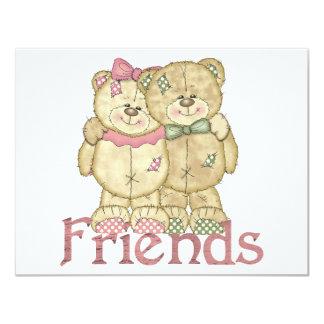 Pares del oso de peluche de los amigos - colores invitacion personal