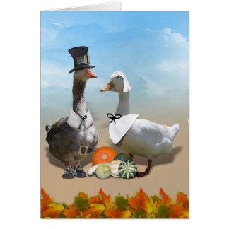 Pares del pato del peregrino de la acción de graci tarjeta