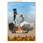 Pares del pato del peregrino de la acción de tarjeta de felicitación
