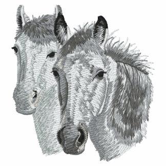 Pares del perfil del caballo sudadera bordada con serigrafía