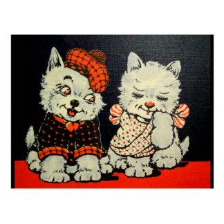 Pares del perro y del gato del escocés del vintage tarjetas postales