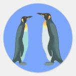 Pares del pingüino etiqueta redonda