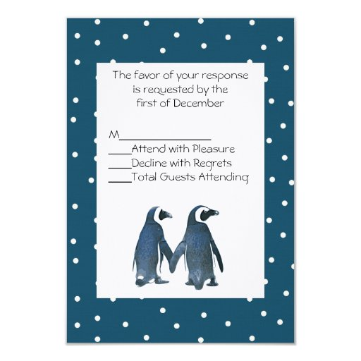 """Pares del pingüino que casan la tarjeta de RSVP Invitación 3.5"""" X 5"""""""