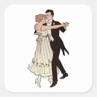 Pares del salón de baile calcomanía cuadradase