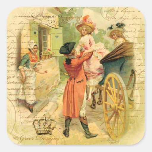 Pares del siglo XVIII del boda en carro Calcomanía Cuadradas