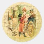 Pares del siglo XVIII del boda en carro Pegatinas Redondas