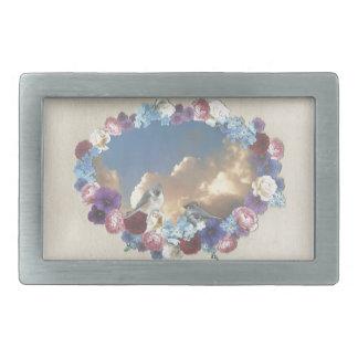 pares del titmouse en guirnalda floral hebilla cinturon rectangular