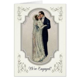 Pares del Victorian en el compromiso del vestido Tarjeta De Felicitación
