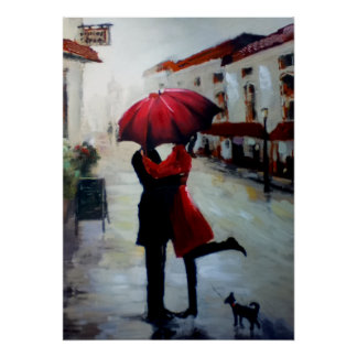 Pares del vintage con la impresión del paraguas y póster