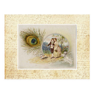 Pares del vintage con la pluma del pavo real tarjeta postal