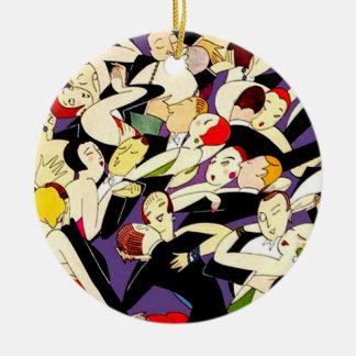 Pares del vintage del baile adorno navideño redondo de cerámica