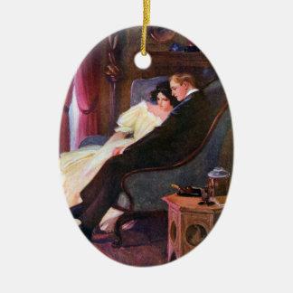 Pares del vintage en salón adorno navideño ovalado de cerámica