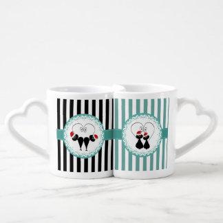 Pares divertidos del amor del gato de Santa del Set De Tazas De Café