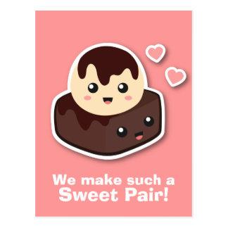 Pares dulces de crema y de brownie de Vanilla Ice Tarjetas Postales