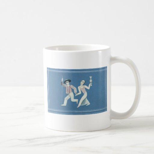 Pares en azul tazas de café