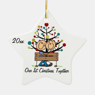 Pares en el ornamento personalizado banco del día  ornamento de navidad