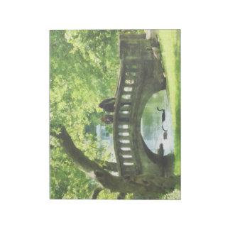 Pares en el puente en parque bloc de papel