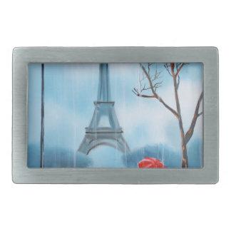 Pares en la pintura de París de la torre Eiffel Hebillas De Cinturon Rectangulares
