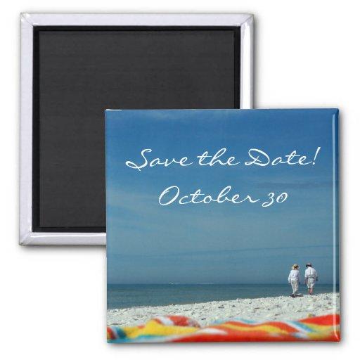 Pares en la playa de Sandy Imán De Frigorífico