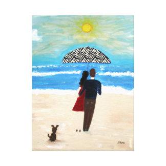 Pares en la playa del océano lona envuelta para galerías