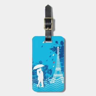 Pares en París con la torre de Eiffle Etiquetas De Equipaje
