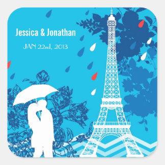 Pares en París con la torre de Eiffle Pegatina Cuadrada