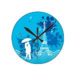 Pares en París con la torre de Eiffle Relojes De Pared