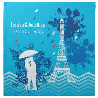 Pares en París con la torre de Eiffle Servilleta Imprimida