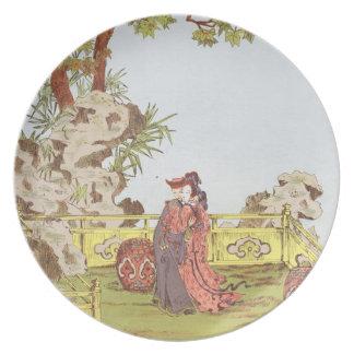 Pares en un jardín chino, de los 'ornamentos de la plato de comida