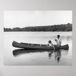 Pares en una canoa impresiones