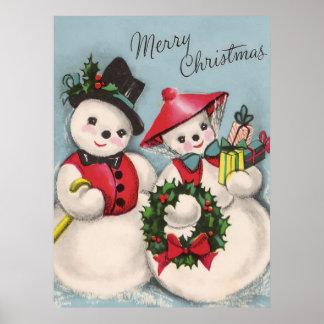 Pares encantadores de los muñecos de nieve posters