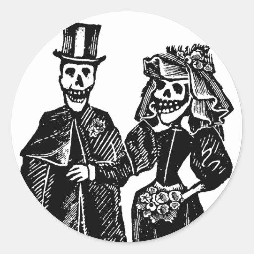 Pares esqueléticos - sellos/pegatinas #1 etiquetas redondas