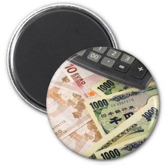 Pares euro y japoneses de las divisas - de la mone imán redondo 5 cm