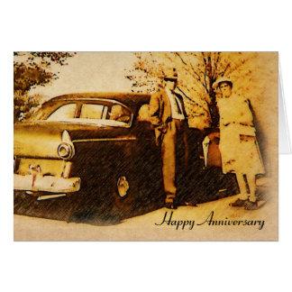 Pares felices del aniversario de la fotografía del tarjeta de felicitación