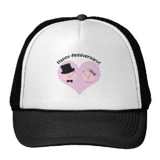 Pares felices del cerdo del aniversario gorros