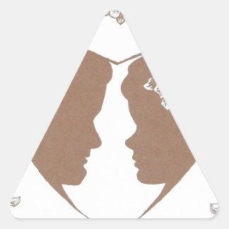 Pares felices pegatina triangular