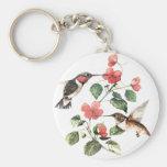 Pares florales de los colibríes del vintage dulce llavero redondo tipo pin