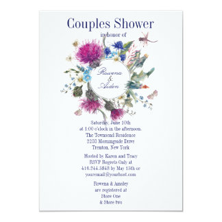 """Pares florales del cardo escocés que casan la invitación 5"""" x 7"""""""