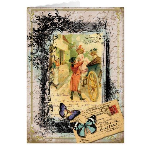 Pares franceses en tarjeta del estilo del vintage