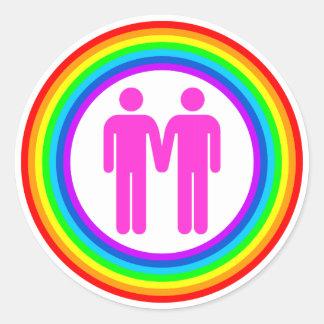 Pares gay del arco iris etiqueta redonda